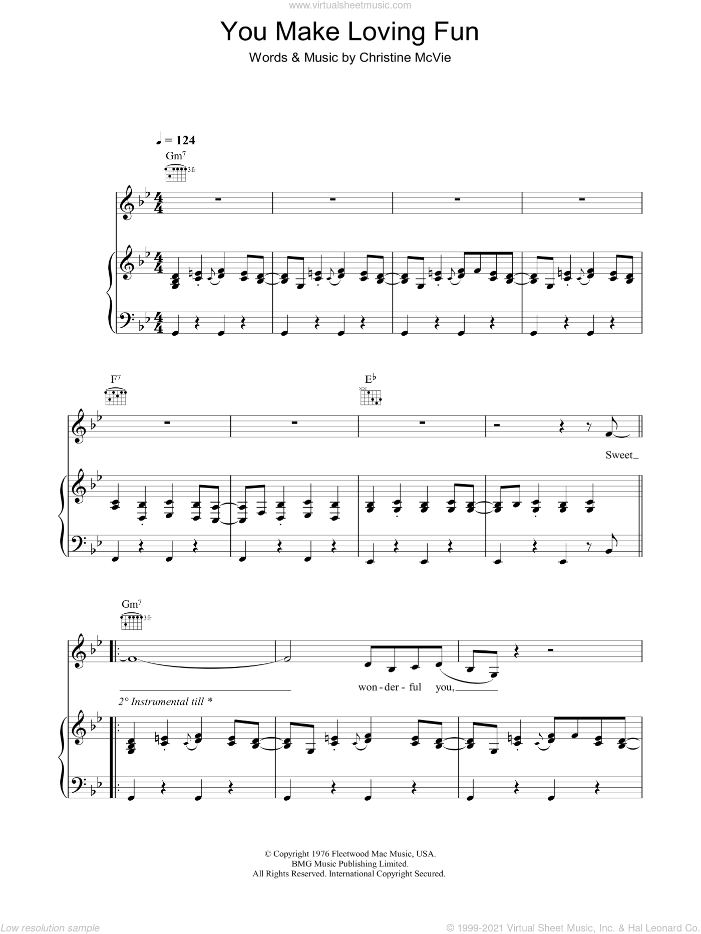 You Make Loving Fun sheet music for voice, piano or guitar by Fleetwood Mac and Christine McVie, intermediate skill level