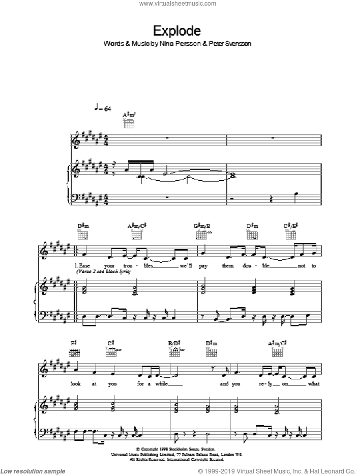 Explode sheet music for voice, piano or guitar by The Cardigans, Nina Persson and Peter Svensson, intermediate