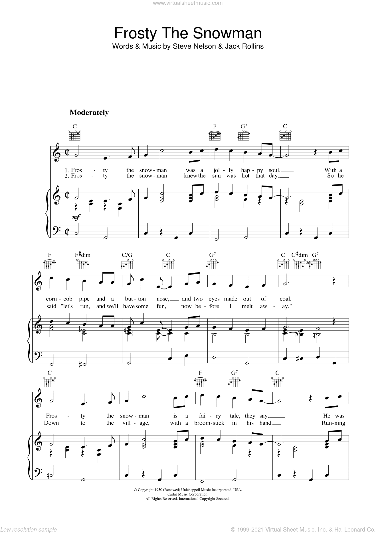 Frosty The Snowman sheet music for voice, piano or guitar by Gene Autry, Jack Rollins and Steve Nelson, intermediate skill level