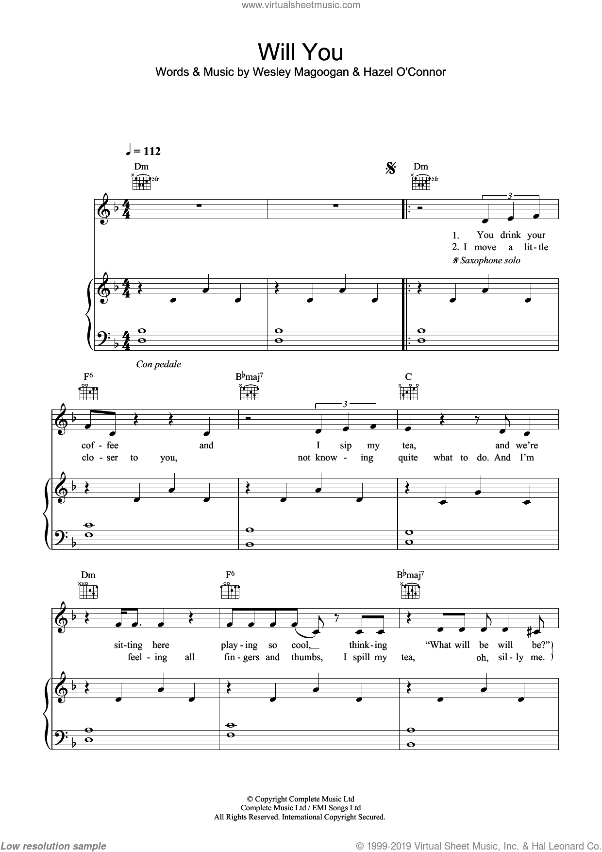Will You sheet music for voice, piano or guitar by Wesley Magoogan
