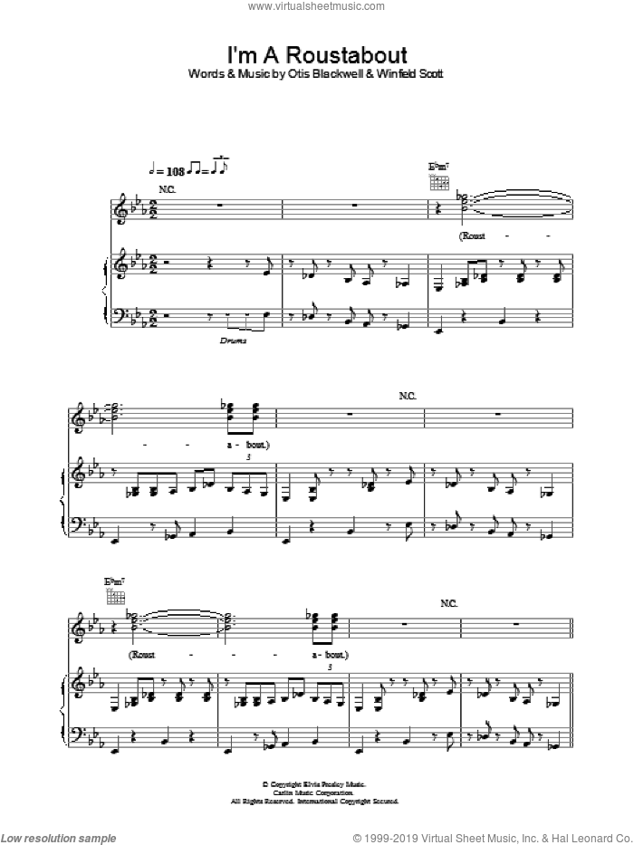 I'm A Roustabout sheet music for voice, piano or guitar by Elvis Presley, Otis Blackwell and Winfield Scott, intermediate. Score Image Preview.