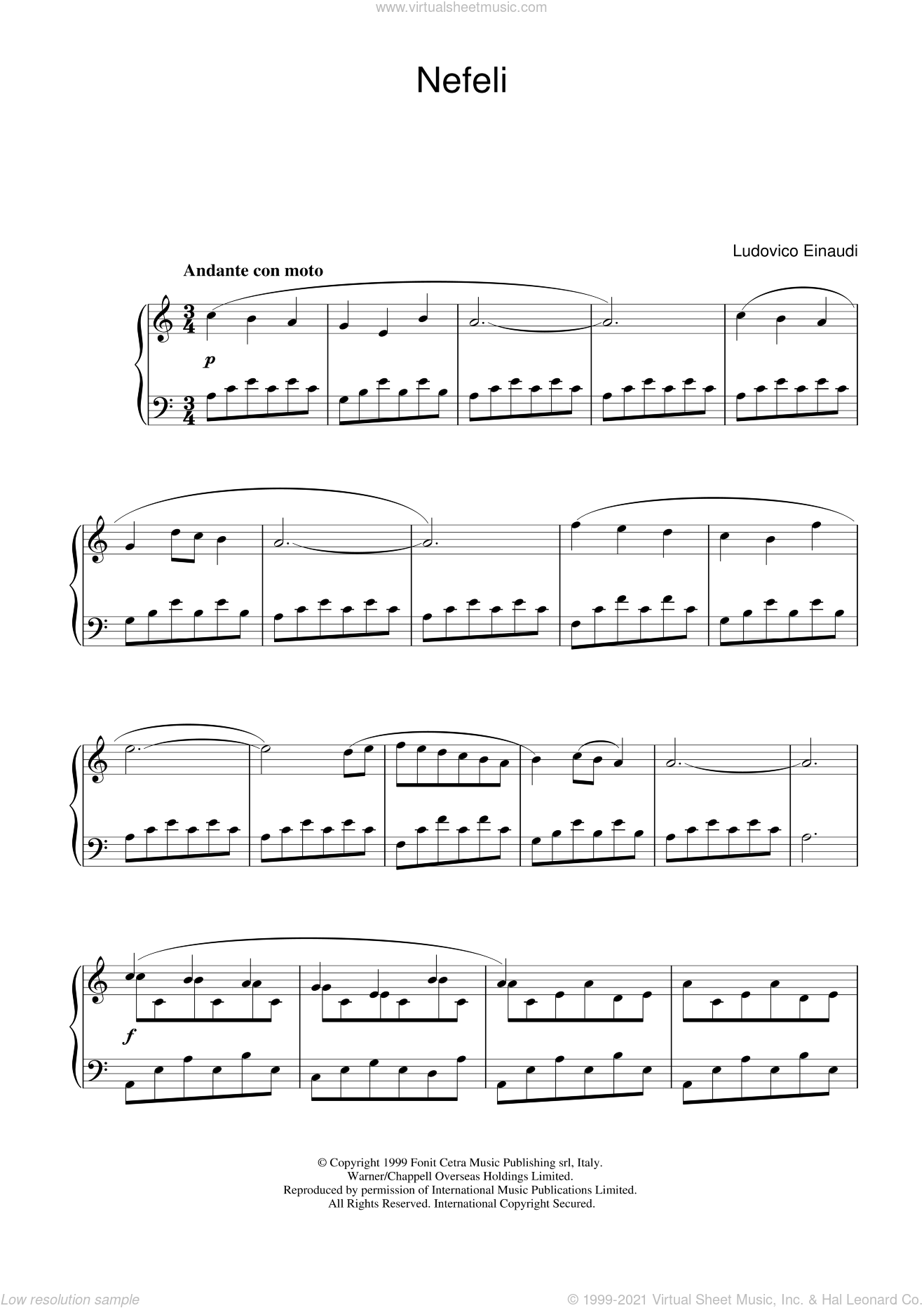 Nefeli sheet music for piano solo by Ludovico Einaudi, classical score, intermediate skill level