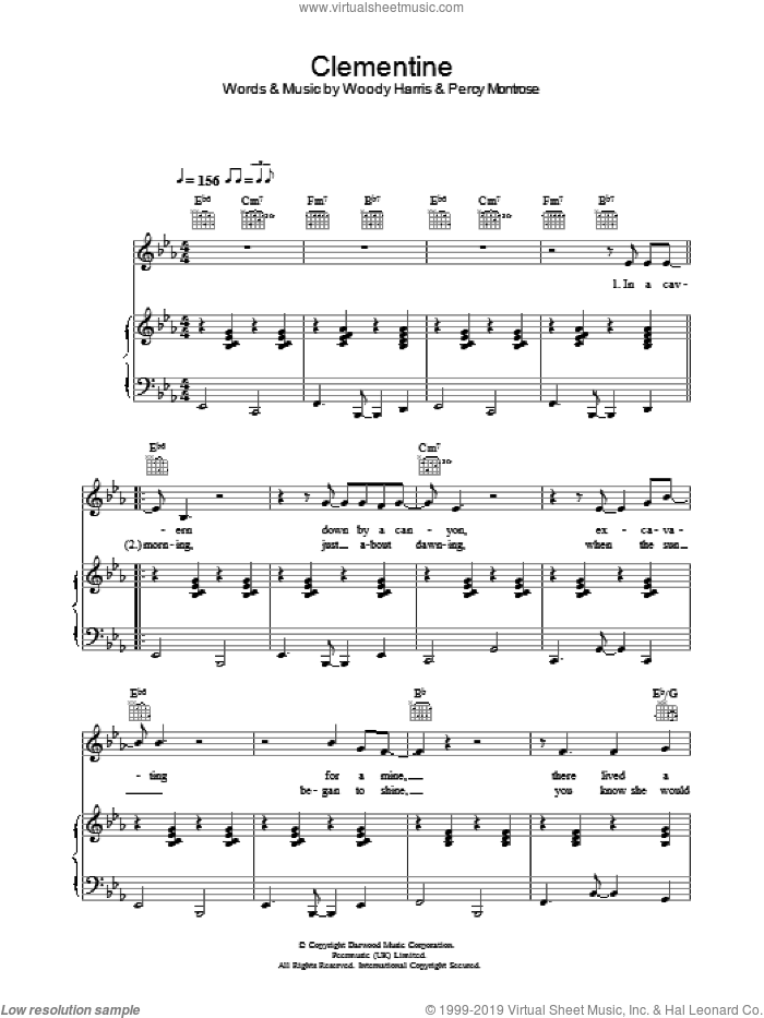 Clementine sheet music for voice, piano or guitar by Bobby Darin and Percy Montrose, intermediate. Score Image Preview.
