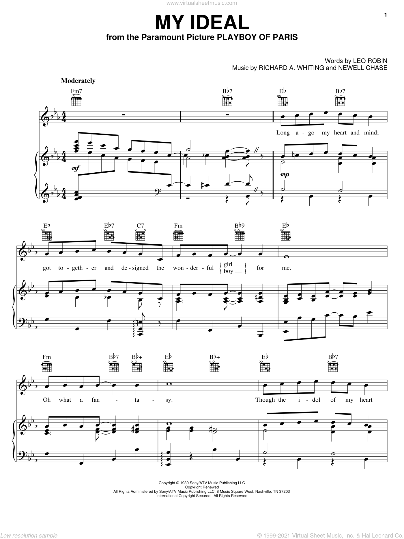 My Ideal sheet music for voice, piano or guitar by Richard A. Whiting
