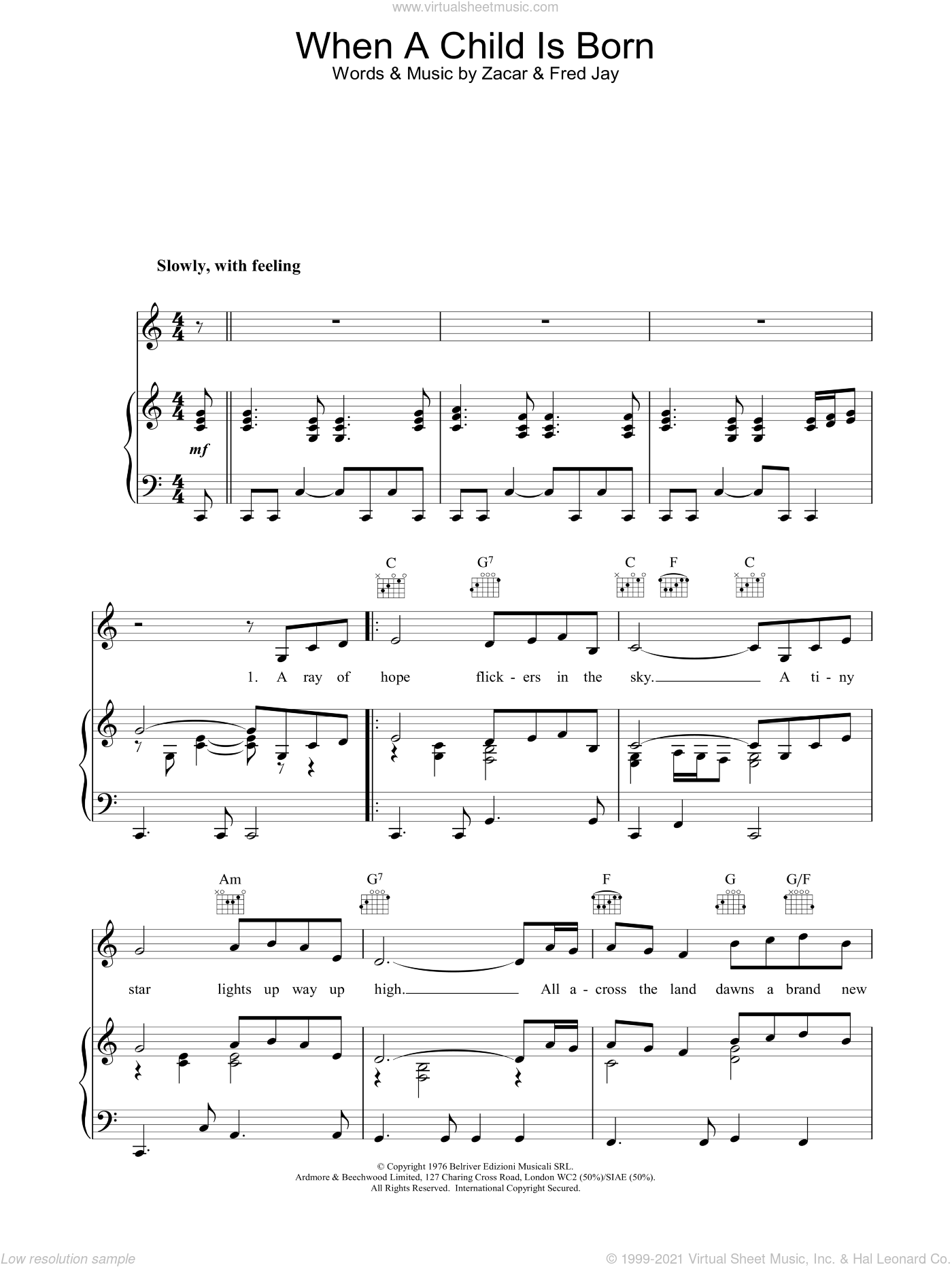 When A Child Is Born sheet music for voice, piano or guitar by Johnny Mathis, Brook Benton, Kenny Rogers, Fred Jay and Zacar, intermediate skill level