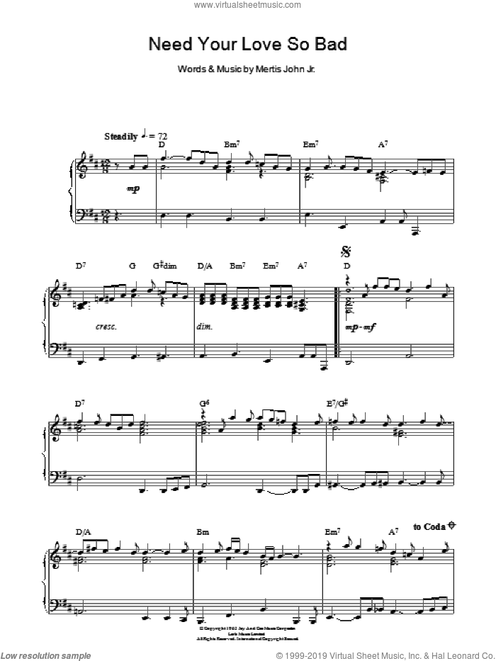 Need Your Love So Bad sheet music for piano solo by Fleetwood Mac and Mertis John Jr., intermediate skill level