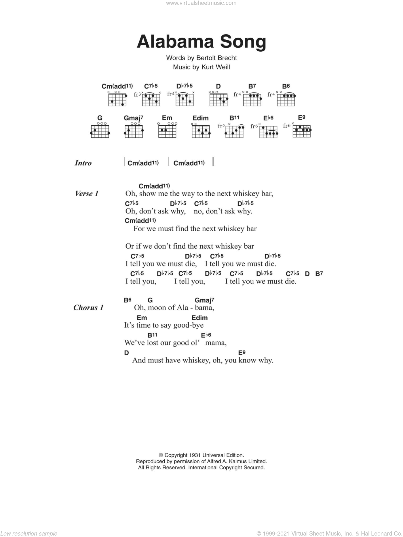 Alabama Song sheet music for guitar (chords) by David Bowie, Bertolt Brecht and Kurt Weill, intermediate skill level
