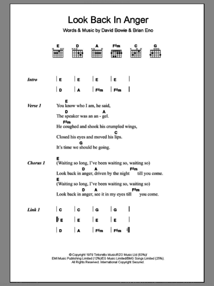 Look Back In Anger sheet music for guitar (chords) by David Bowie and Brian Eno. Score Image Preview.