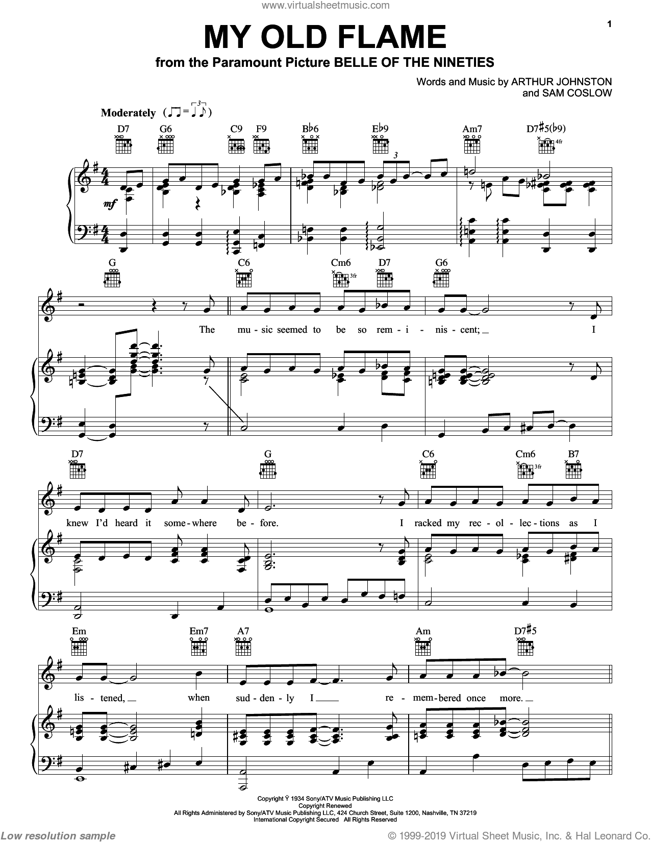 My Old Flame sheet music for voice, piano or guitar by Peggy Lee, Arthur Johnston and Sam Coslow. Score Image Preview.