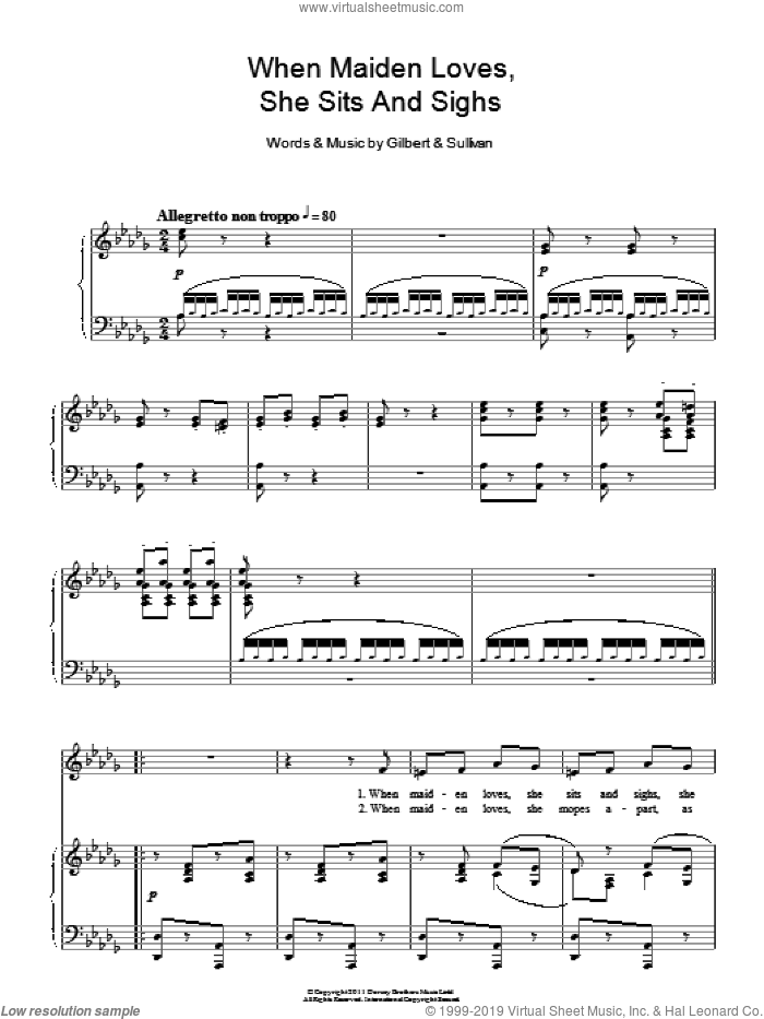 When Maiden Loves She Sits And Sighs sheet music for voice and piano by Gilbert & Sullivan. Score Image Preview.