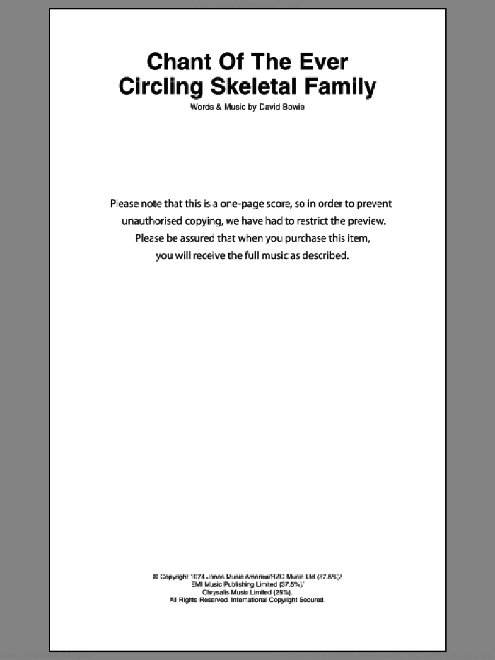 Chant Of The Ever Circling Skeletal Family sheet music for guitar (chords) by David Bowie