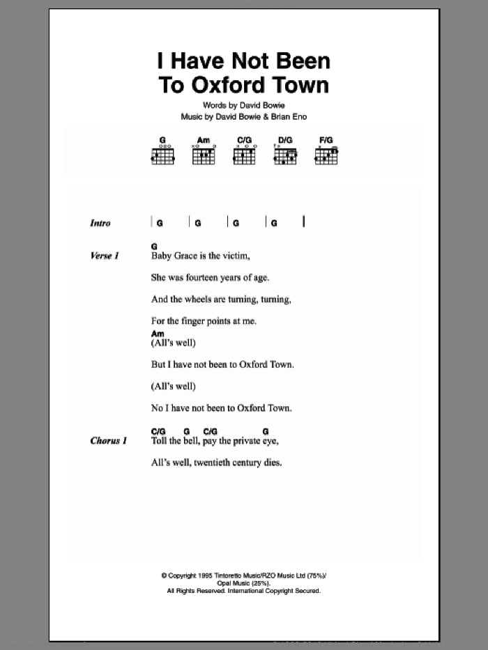 I Have Not Been To Oxford Town sheet music for guitar (chords) by Brian Eno and David Bowie. Score Image Preview.