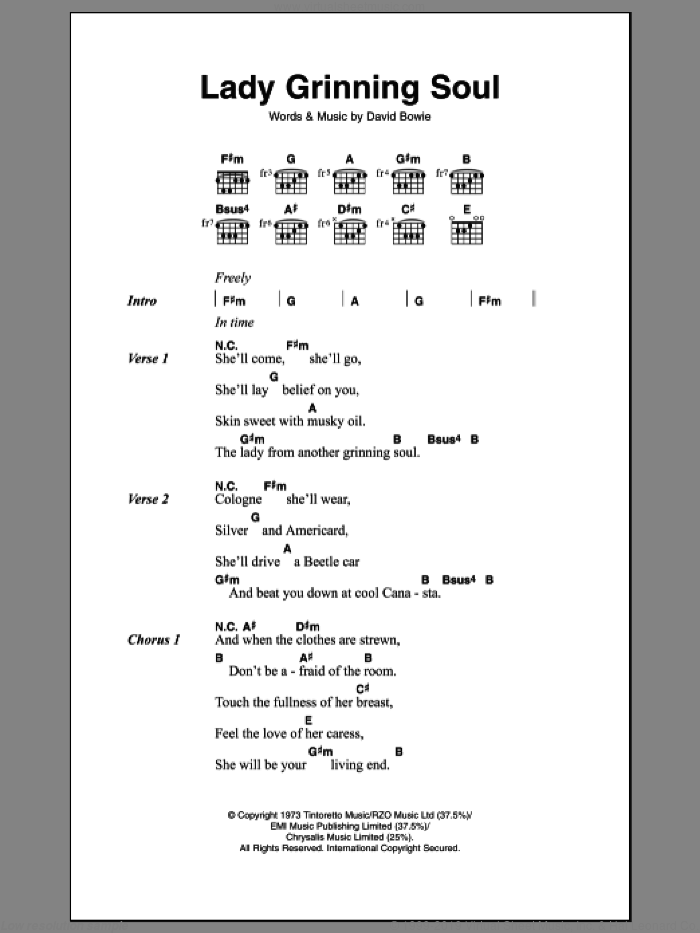 Bowie - Lady Grinning Soul sheet music for guitar (chords) [PDF]