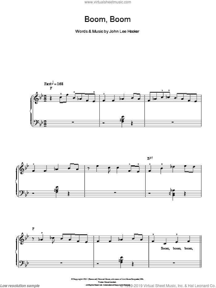Boom Boom sheet music for piano solo (chords) by John Lee Hooker