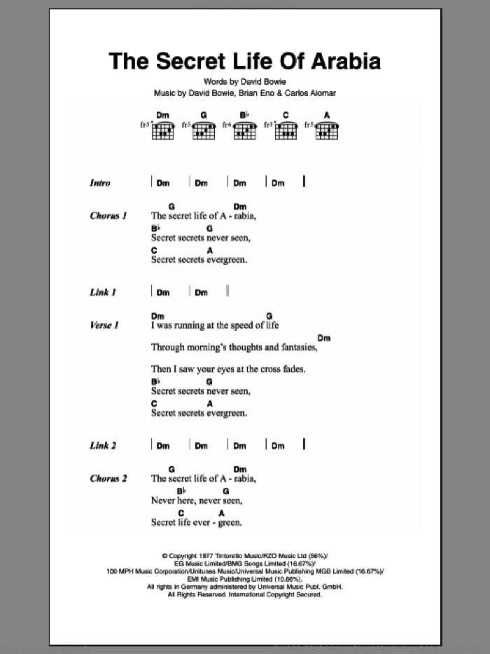 The Secret Life Of Arabia sheet music for guitar (chords) by David Bowie, Brian Eno and Carlos Alomar, intermediate skill level