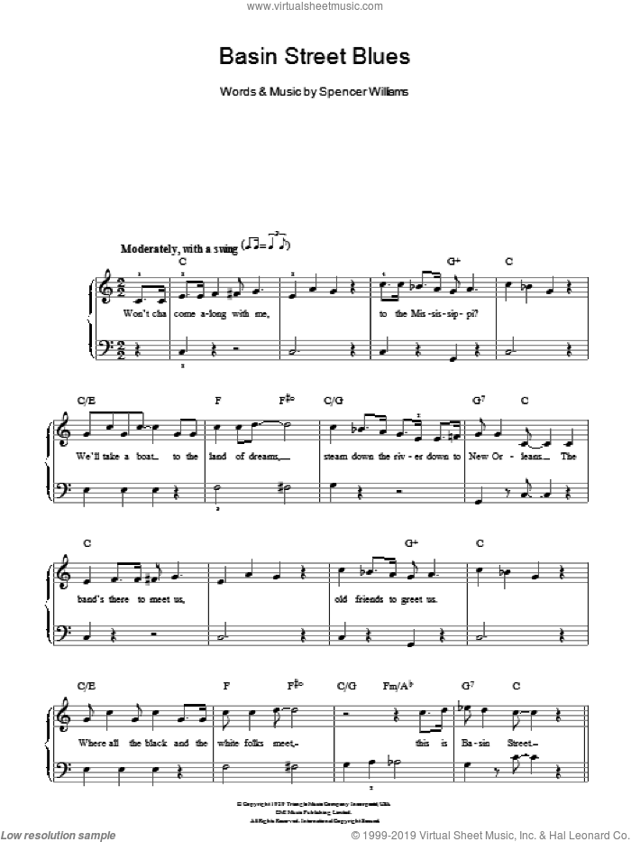 Basin Street Blues sheet music for piano solo by Spencer Williams and Louis Armstrong. Score Image Preview.