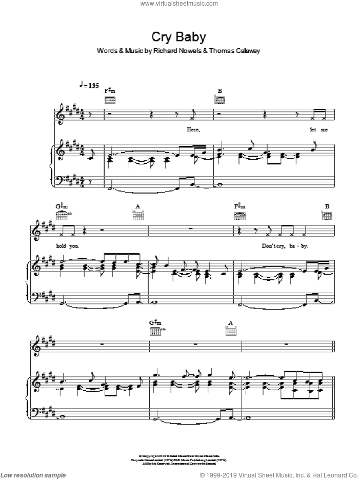 Cry Baby sheet music for voice, piano or guitar by Cee Lo Green, Rick Nowels and Thomas Callaway. Score Image Preview.