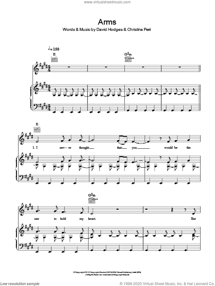 Arms sheet music for voice, piano or guitar by Christina Perri and David Hodges, intermediate skill level