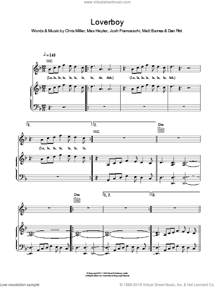 Loverboy sheet music for voice, piano or guitar by Max Heyler and Chris Miller. Score Image Preview.