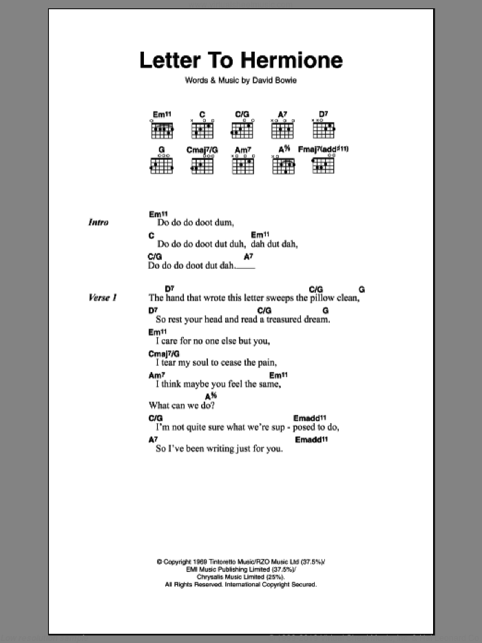 Letter To Hermione sheet music for guitar (chords, lyrics, melody) by David Bowie