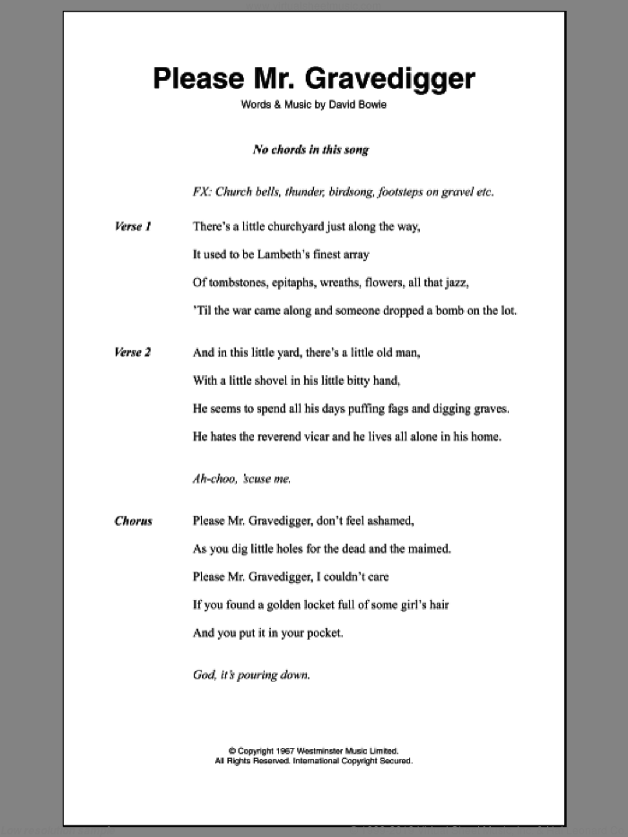 Please Mr. Gravedigger sheet music for guitar (chords) by David Bowie, intermediate. Score Image Preview.