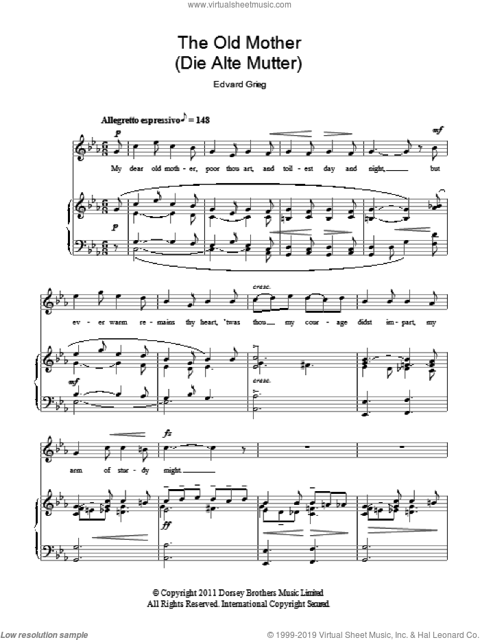 The Old Mother (Die Alte Mutter) sheet music for voice and piano by Edward Grieg, classical score, intermediate