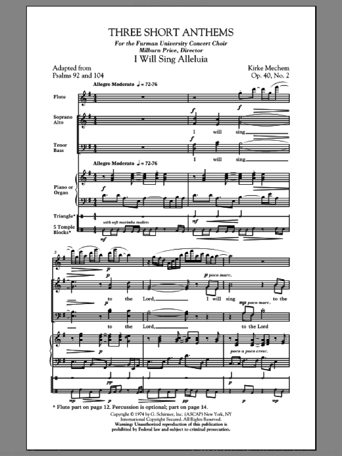 Three Short Anthems sheet music for choir and piano (SATB) by Kirke Mechem. Score Image Preview.