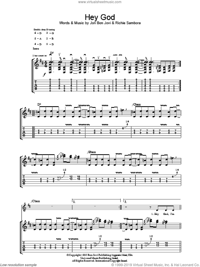 Hey God sheet music for guitar (tablature) by Richie Sambora and Bon Jovi. Score Image Preview.