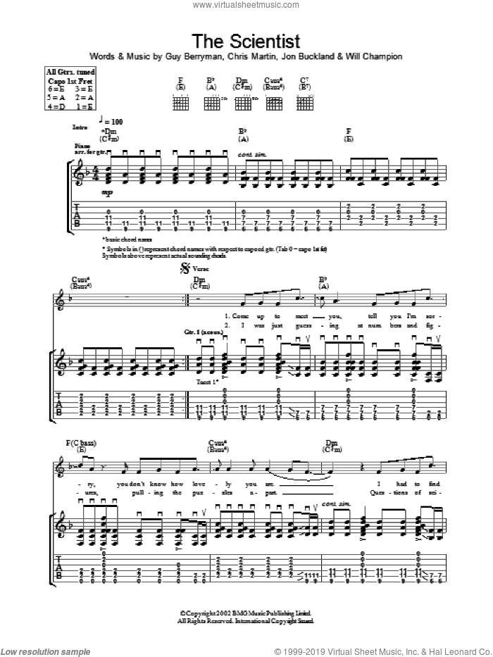 The Scientist sheet music for guitar (tablature) by Coldplay, Chris Martin, Guy Berryman, Jon Buckland and Will Champion, intermediate skill level