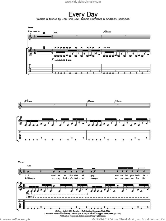 Everyday sheet music for guitar (tablature) by Bon Jovi, Andreas Carlsson and Richie Sambora. Score Image Preview.