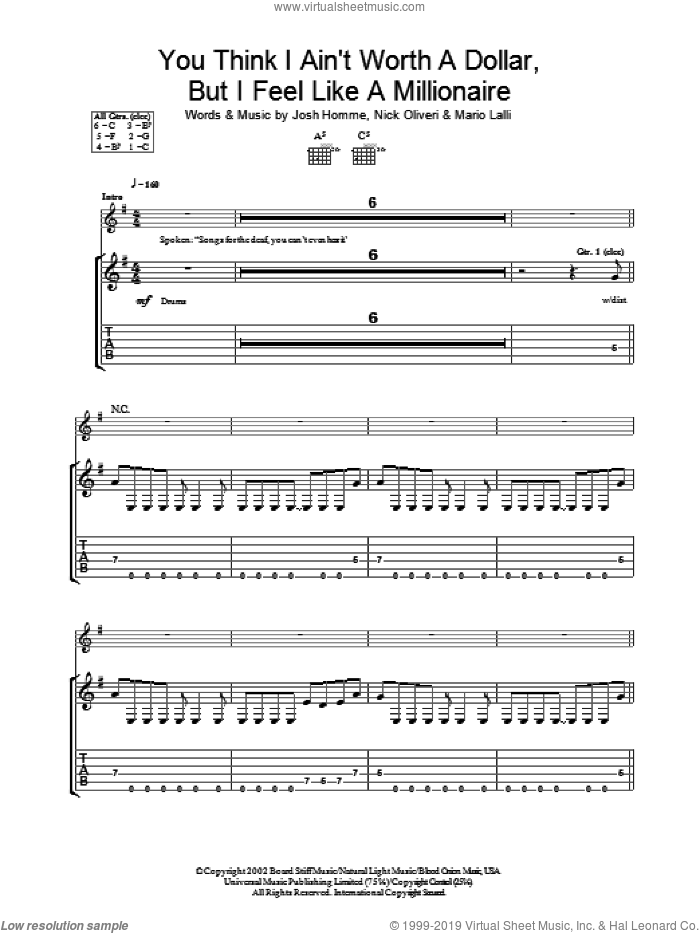 You Think I Ain't Worth A Dollar, But I Feel Like A Millionaire sheet music for guitar (tablature) by Queens Of The Stone Age, Josh Homme, Mario Lalli and Nick Oliveri, intermediate skill level