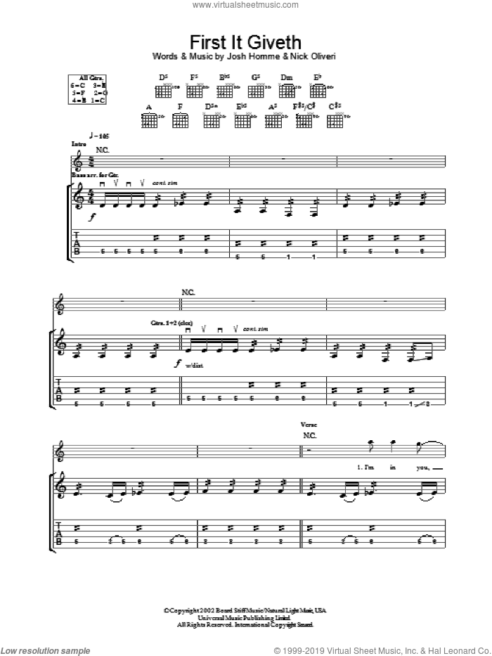 First It Giveth sheet music for guitar (tablature) by Queens Of The Stone Age, Josh Homme and Nick Oliveri, intermediate skill level