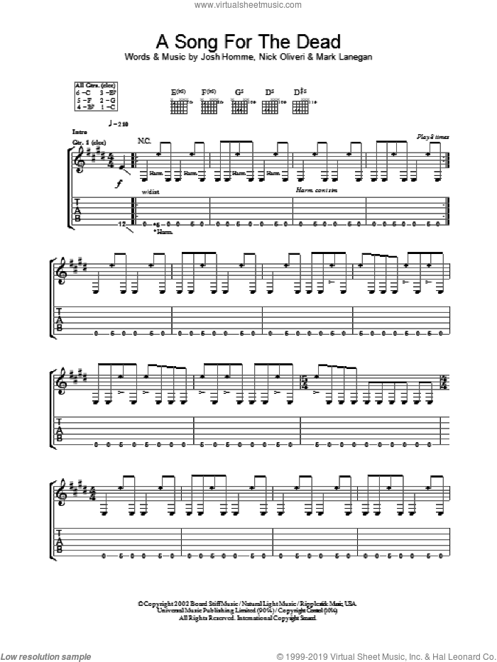 A Song For The Dead sheet music for guitar (tablature) by Queens Of The Stone Age, Josh Homme, Mark Lanegan and Nick Oliveri, intermediate skill level
