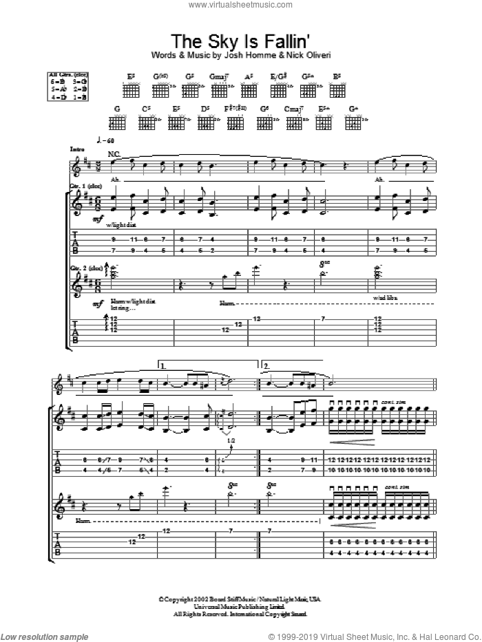 The Sky Is Fallin' sheet music for guitar (tablature) by Nick Oliveri, Queens Of The Stone Age and Josh Homme. Score Image Preview.