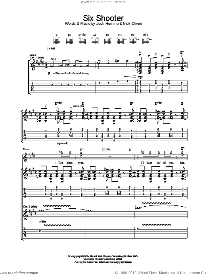 Six Shooter sheet music for guitar (tablature) by Nick Oliveri, Queens Of The Stone Age and Josh Homme. Score Image Preview.