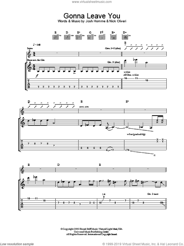 Gonna Leave You sheet music for guitar (tablature) by Queens Of The Stone Age, Josh Homme and Nick Oliveri, intermediate. Score Image Preview.