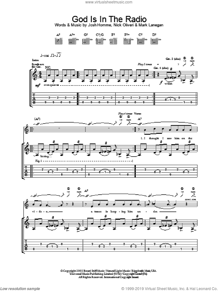 God Is In The Radio sheet music for guitar (tablature) by Nick Oliveri, Queens Of The Stone Age and Josh Homme. Score Image Preview.