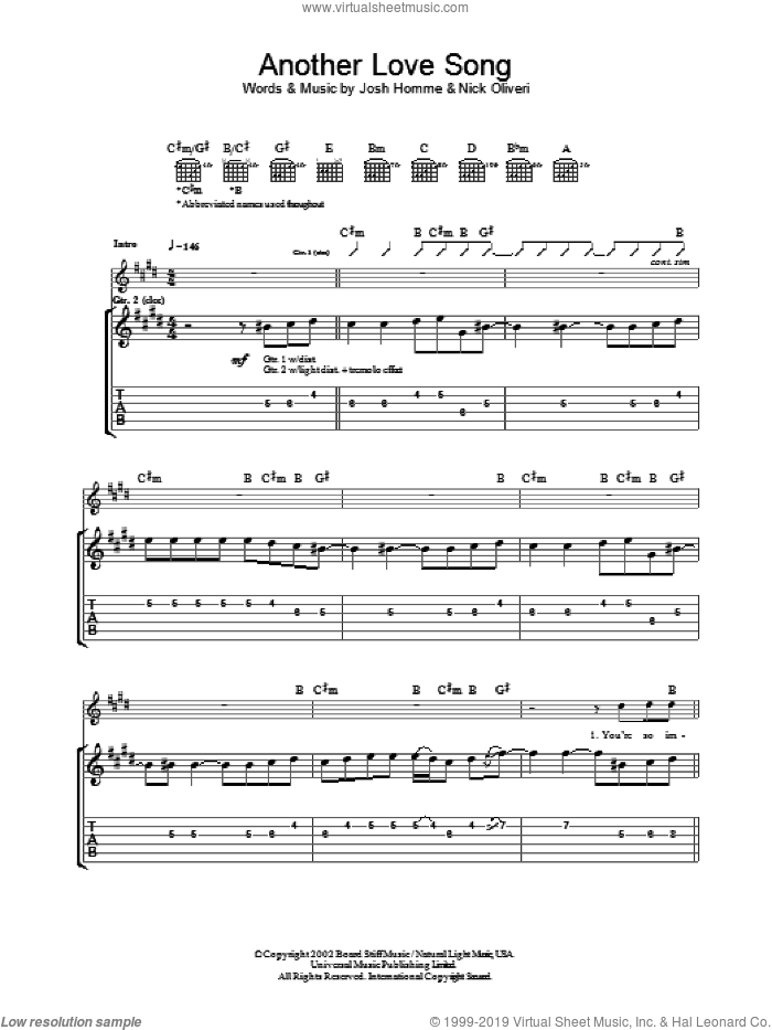 Another Love Song sheet music for guitar (tablature) by Nick Oliveri, Queens Of The Stone Age and Josh Homme