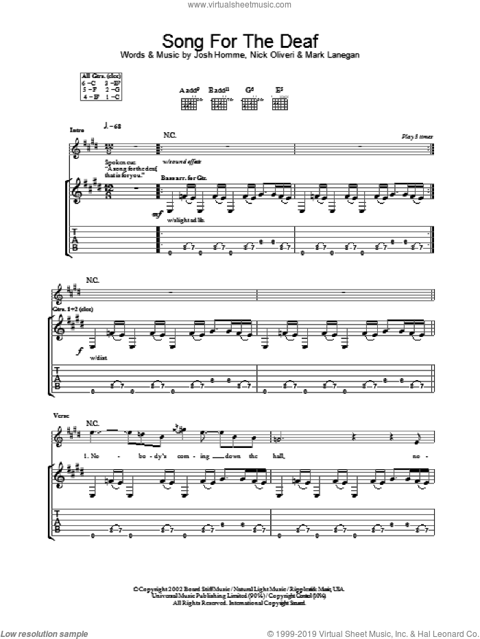 A Song For The Deaf sheet music for guitar (tablature) by Queens Of The Stone Age, intermediate guitar (tablature). Score Image Preview.