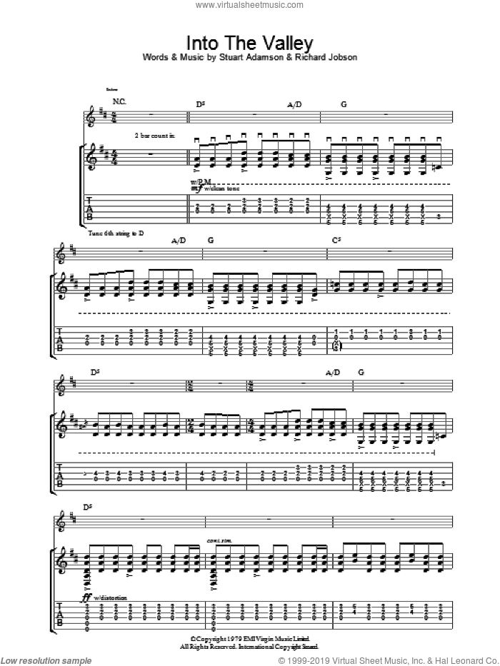 Into The Valley sheet music for guitar (tablature) by Stuart Adamson