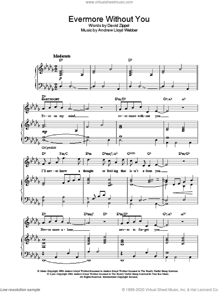 Evermore Without You sheet music for voice, piano or guitar by David Zippel