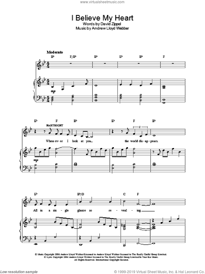 I Believe My Heart sheet music for voice, piano or guitar by David Zippel and Andrew Lloyd Webber. Score Image Preview.