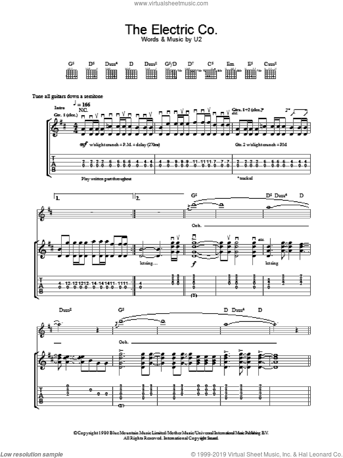 The Electric Co. sheet music for guitar (tablature) by U2. Score Image Preview.