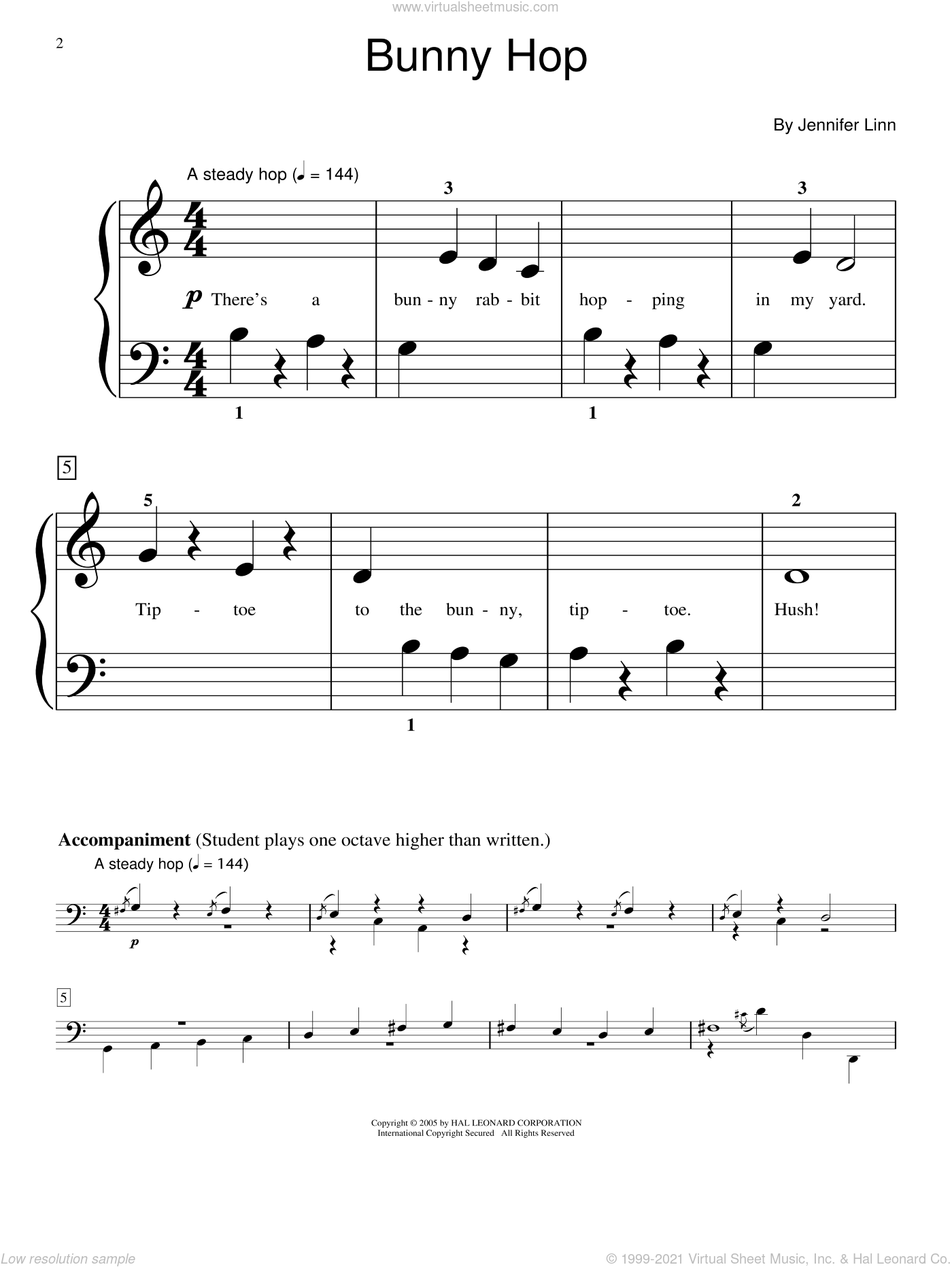 Bunny Hop sheet music for piano solo (elementary) by Jennifer Linn and Miscellaneous. Score Image Preview.