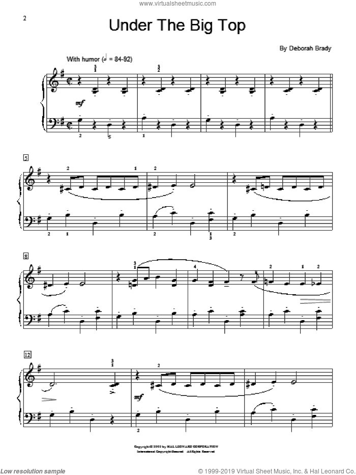 Under The Big Top sheet music for piano solo (elementary) by Deborah Brady and Miscellaneous. Score Image Preview.