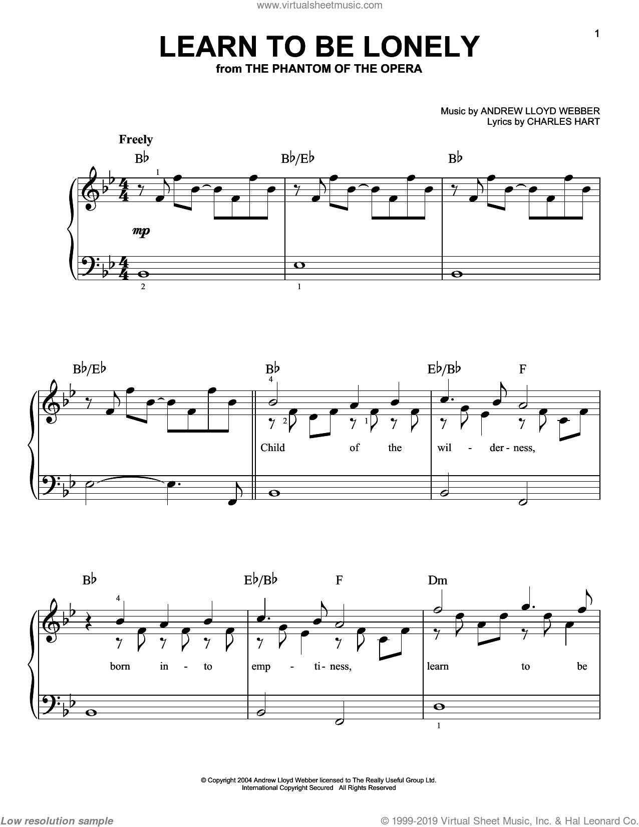 Learn To Be Lonely sheet music for piano solo (chords) by Charles Hart