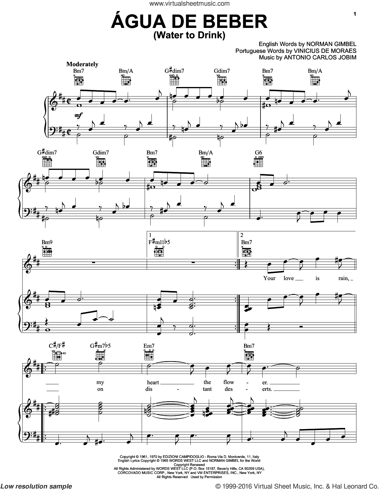 Agua De Beber (Water To Drink) sheet music for voice, piano or guitar by Vinicius de Moraes, Antonio Carlos Jobim and Norman Gimbel. Score Image Preview.
