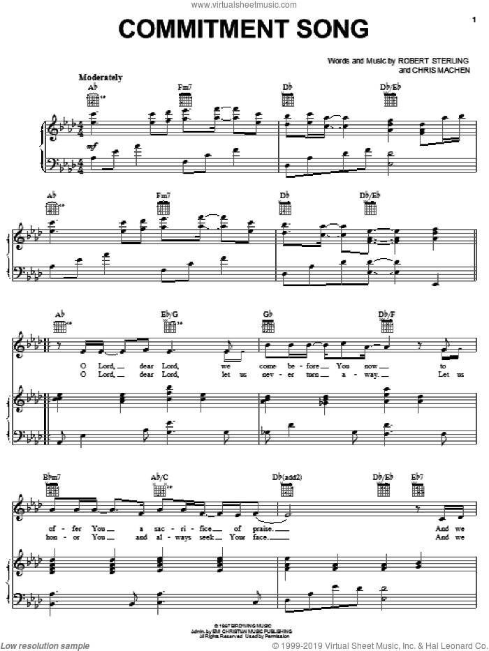Commitment Song sheet music for voice, piano or guitar by Robert Sterling and Chris Machen, wedding score, intermediate skill level