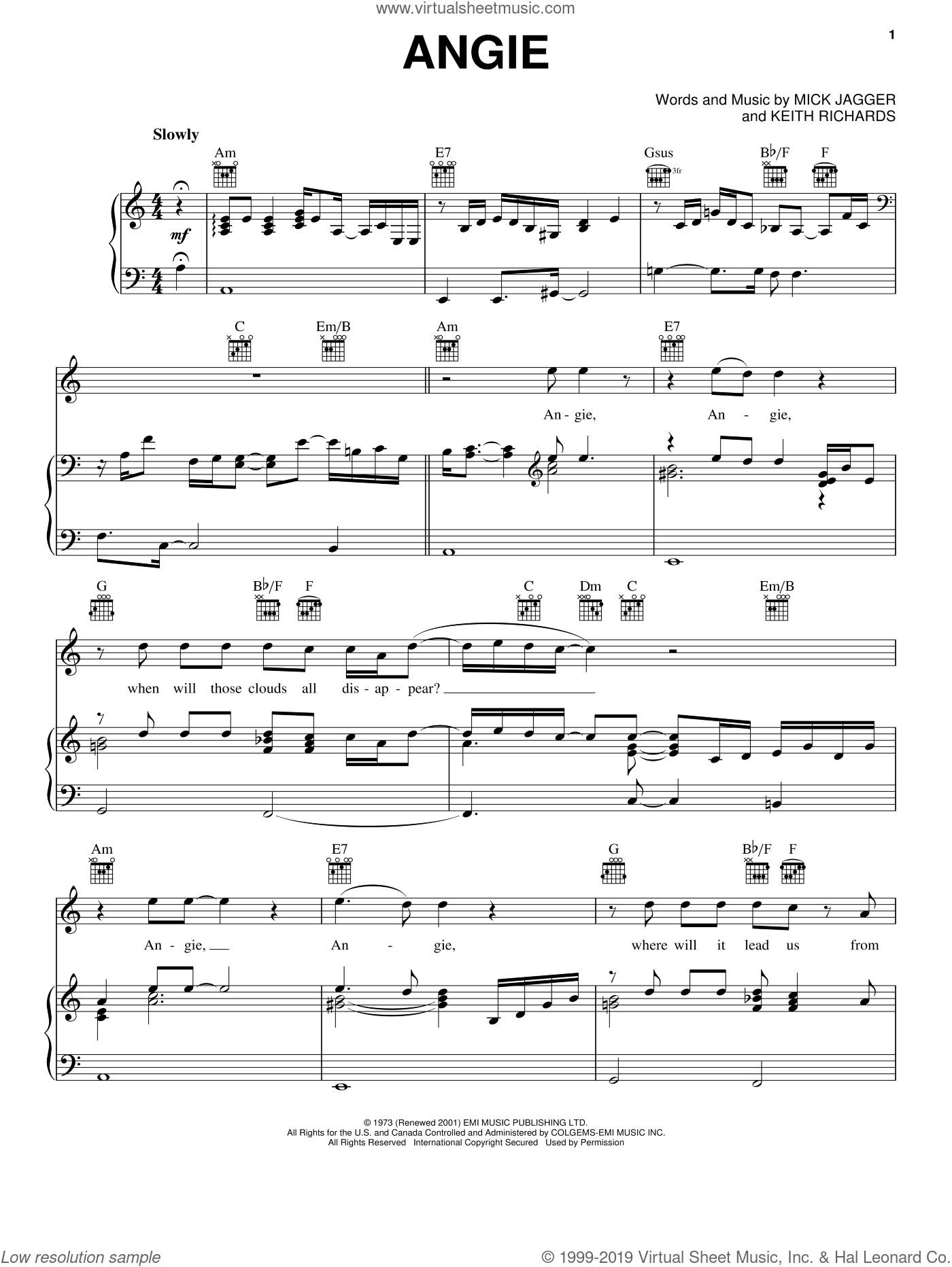 Angie sheet music for voice, piano or guitar by The Rolling Stones, Keith Richards and Mick Jagger, intermediate skill level