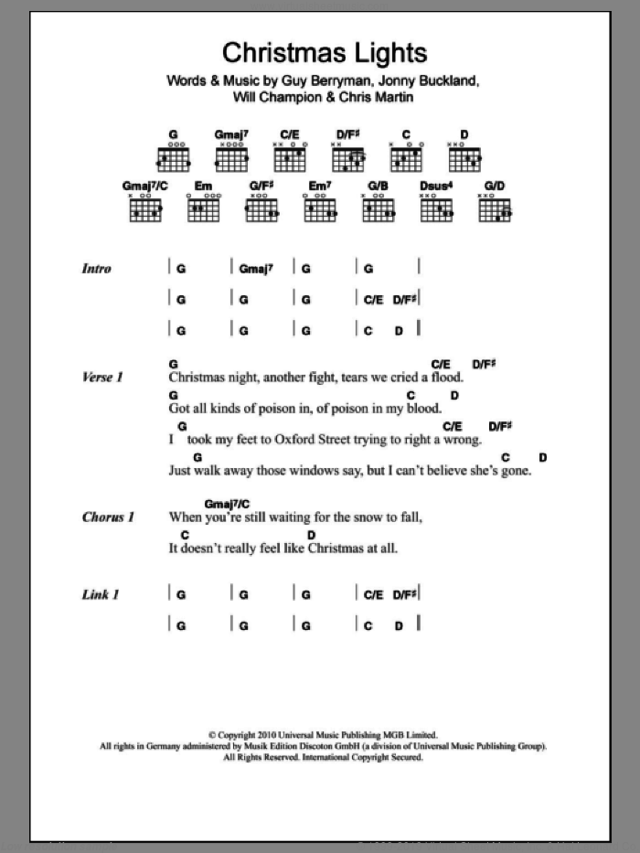 Christmas Lights sheet music for guitar solo (chords, lyrics, melody) by Will Champion
